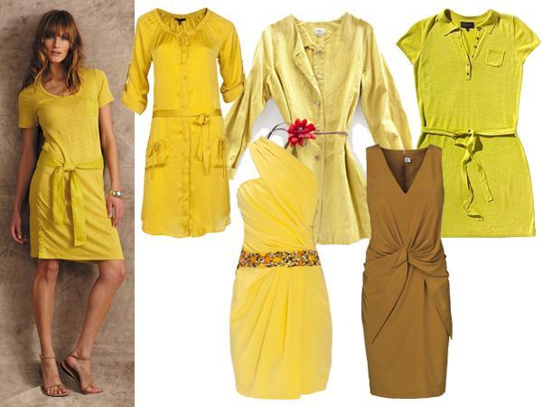 Gele basic jurk