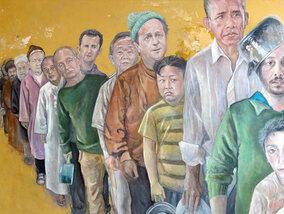 Hoe een Syrische kunstenaar de grote wereldleiders verandert in kwestbare vluchtelingen