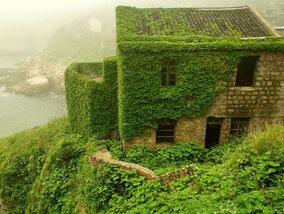 Verlaten spookdorp kleurt groen