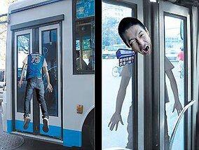 Hilarische reclame op de bus