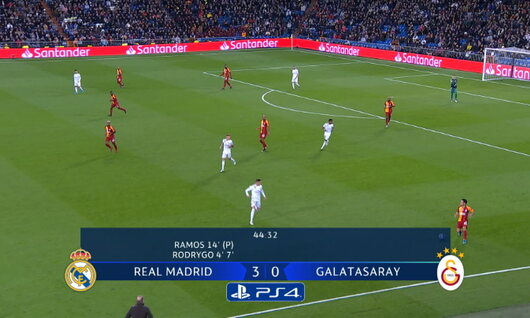 Goal: Real Madrid 4 - 0 Galatasaray 45', Benzema