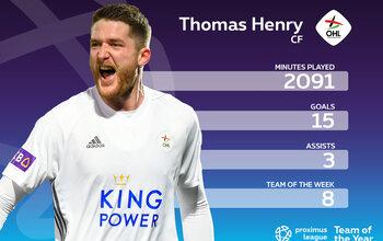 Le onze-type de la Proximus League cette saison // ATTAQUANT DE POINTE // Thomas Henry (OHL)