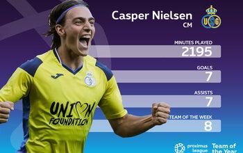 Le onze-type de la Proximus League cette saison // MILIEU (3) // Casper Nielsen (Union SG)