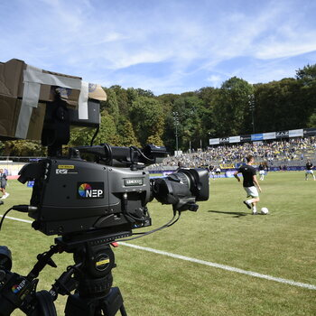 Illustration shows a TV camera during a soccer game between Union Saint-Gilloise and Oud-Heverlee Leuven