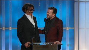 Ricky Gervais en Johnny Depp