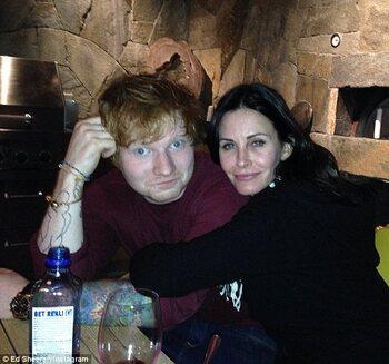 Ed Sheeran en Courteney Cox
