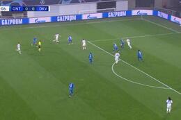 Goal: La Gantoise 0 - 1 Dynamo Kiev 9', Supriaga