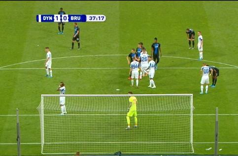 Goal: Dynamo Kiev 1 - 1 FC Bruges 38' Deli