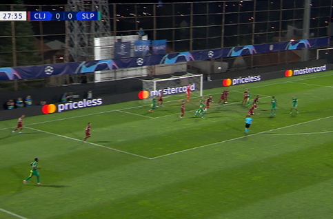 Goal: CFR Cluj 0 - 1 Slavia Praag 28' Masopust