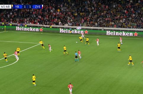 Goal: Young Boys 1 - 2 Crvena Zvezda 47' Garcia Ezequiel
