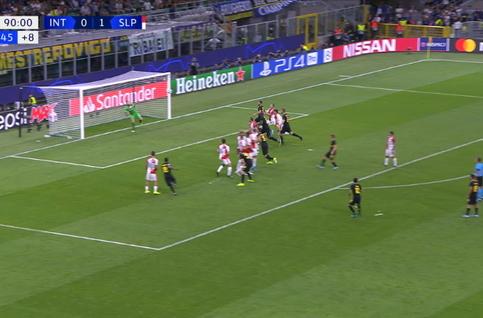 Goal:  Inter Milaan 1 - 1 Slavia Praag 90', Barella