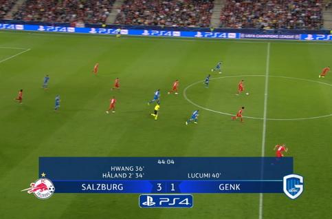 Goal: Red Bull Salzbourg 4 - 1 Genk 45', Haland