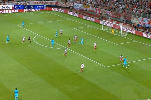 Penalty: Olympiakos 0 - 1 Tottenham 26', Kane