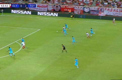 Goal: Olympiakos Piraeus 1 - 2 Tottenham Hotspur 44', Podence