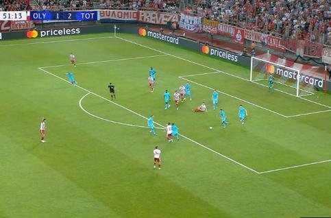 Penalty: Olympiakos 2 - 2 Tottenham 54', Valbuena