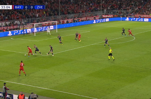 Goal: Bayern Munich 1 - 0 Crvena Zvezda 34', Coman