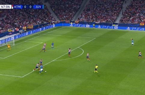 Goal: Atlético Madrid 0 - 1 Juventus Turin 48', Cuadrado