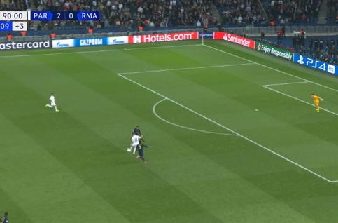 Goal: Paris SG 3 - 0 Real Madrid 90', Meunier
