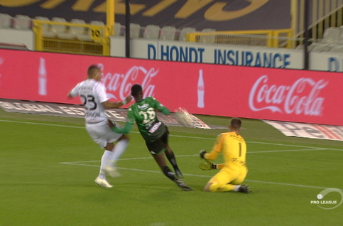 Penalty: Cercle Bruges 1 - 0 Eupen 12', Peeters