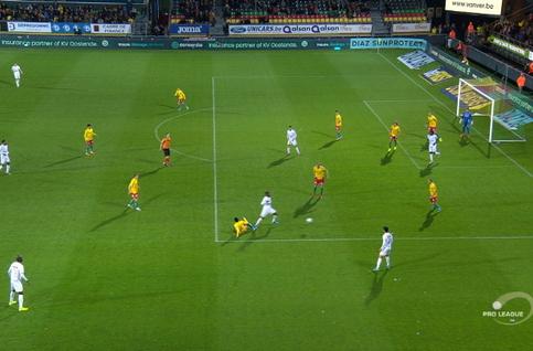 Penalty: Ostende 0 - 1 Royal Antwerp 15', Mbokani